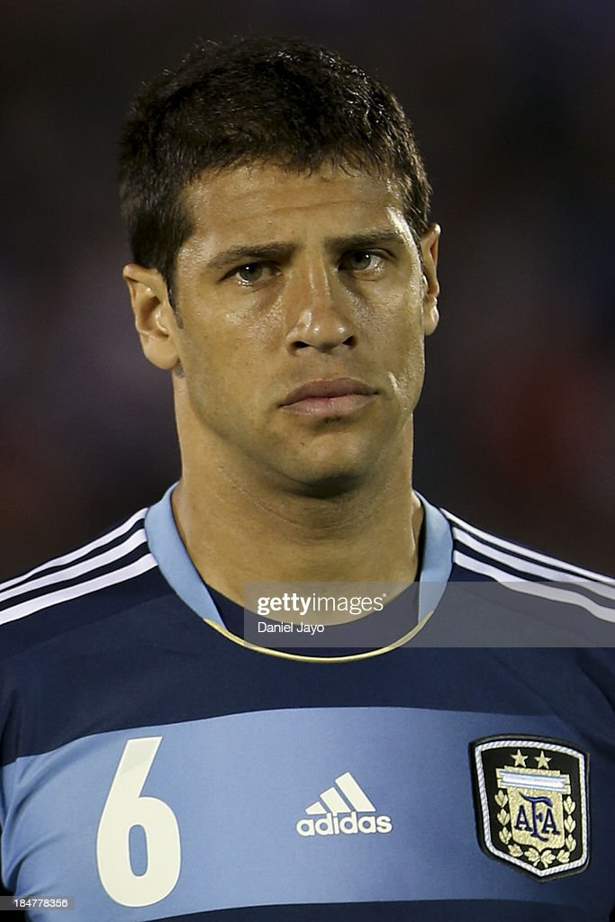 <a gi-track='captionPersonalityLinkClicked' href=/galleries/search?phrase=Sebastian+Dominguez&family=editorial&specificpeople=2474032 ng-click='$event.stopPropagation()'>Sebastian Dominguez</a> of Argentina before a match between Uruguay and Argentina as part of the 18th round of the South American Qualifiers at Centenario Stadium on October 15, 2013 in Montevideo, Uruguay.