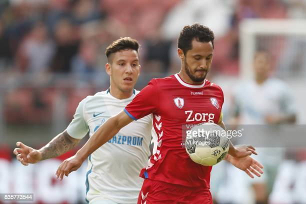 Sebastian Driussi of FC Zenit Mark van de Maarel of FC Utrecht during the UEFA Europa League fourth round qualifying first leg match between FC...
