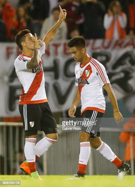 Sebastian Driussi of River Plate and teammates celebrate their team's second goal during a match between River Plate and FBC Melgar as part of Copa...
