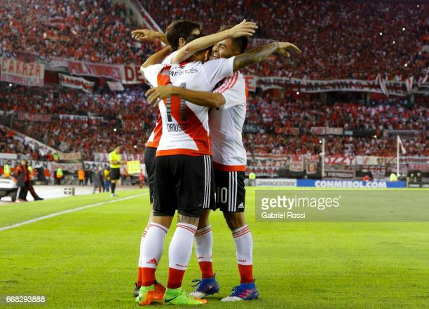 Sebastian Driussi of River Plate and teammates celebrate their team's fourth goal during a match between River Plate and FBC Melgar as part of Copa...