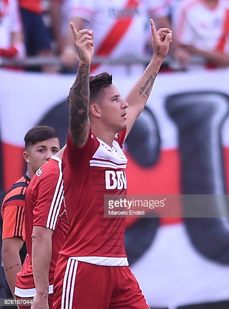 Sebastian Driussi of River Plate celebrate after scoring the first goal of their team during a match between River Plate and Huracan as part of...