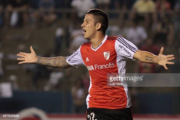Sebastian Driussi of River Plate celebrates a the second goal of his team during a match between Libertad and River Plate as part of round of 16 of...