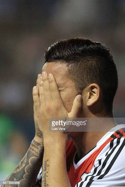 Sebastian Driussi of River Plate celebrates after scoring his team's second goal during a match between Libertad and River Plate as part of round of...