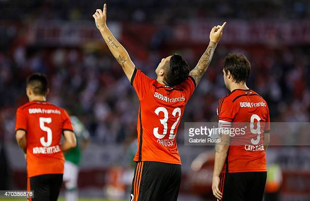 Sebastian Driussi of River Plate celebrates after scoring the first goal of his team during a match between River Plate and Banfield as part of 10th...
