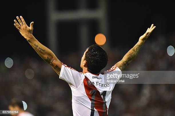 Sebastian Driussi of River Plate celebrates after scoring the first goal of his team during a match between Boca Juniors and River Plate as part of...