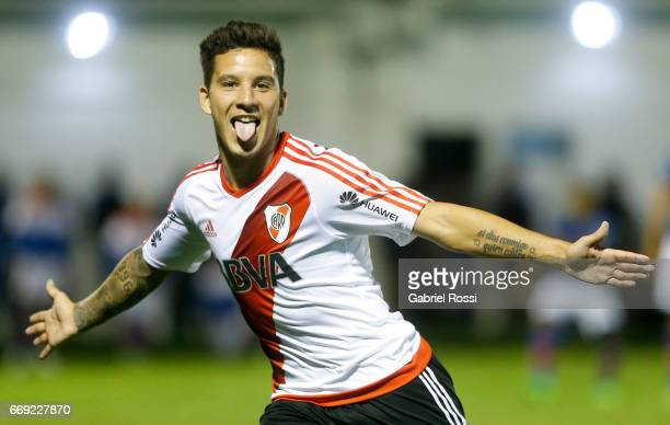 Sebastian Driussi of River Plate celebrates after scoring the first goal of his team during a match between Tigre and River Plate as part of Torneo...
