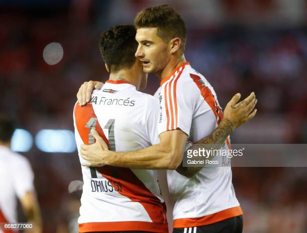 Sebastian Driussi of River Plate celebrates after scoring the fourth goal of his team during a match between River Plate and FBC Melgar as part of...