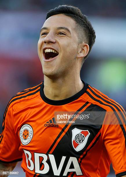 Sebastian Driussi of River Plate celebrates after scoring the opening goal during a match between River Plate and Banfield as part of first round of...