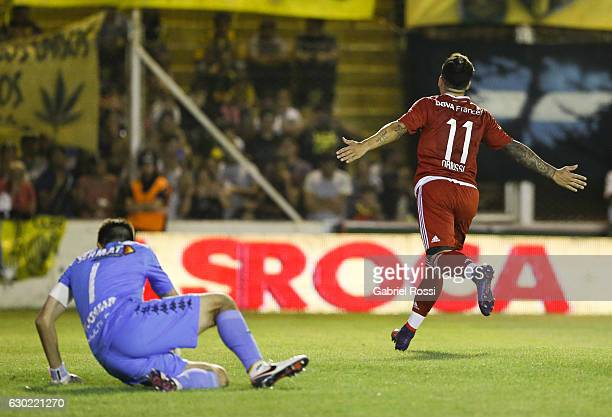 Sebastian Driussi of River Plate celebrates after scoring the second goal of his team during a match between Olimpo and River Plate as part of Torneo...