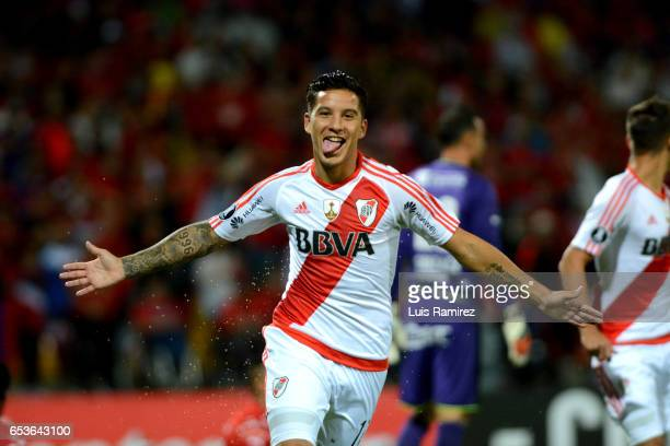 Sebastian Driussi of River Plate celebrates after scoring the second goal of his team during a group stage match between Deporivo Independiente...