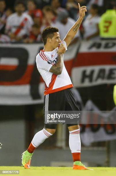 Sebastian Driussi of River Plate celebrates after scoring the second goal of his team during a match between River Plate and FBC Melgar as part of...