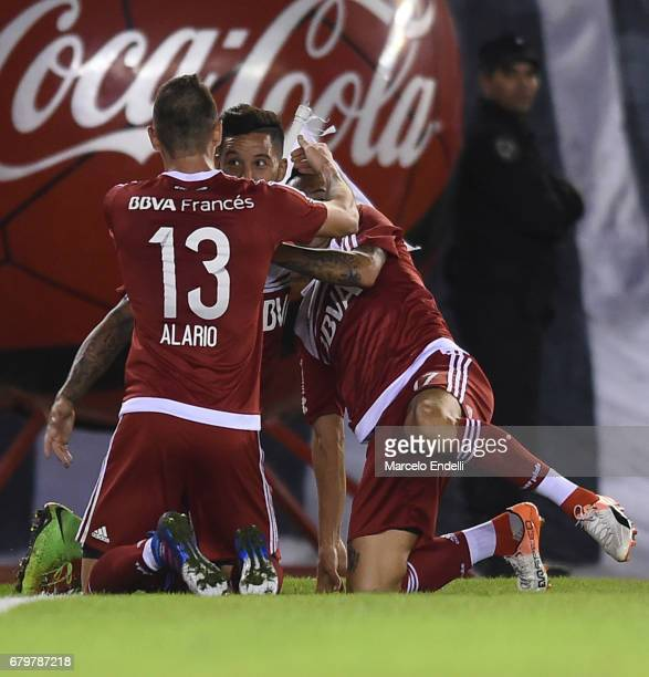 Sebastian Driussi of River Plate celebrates after scoring the third goal of his team during a match between River Plate and Temperley as part of...
