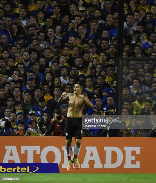 Sebastian Driussi of River Plate celebrates after scoring the third goal of his team during a match between Boca Juniors and River Plate as part of...