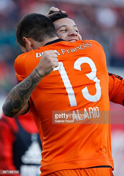 Sebastian Driussi of River Plate celebrates with teammate Lucas Alario after scoring the opening goal during a match between River Plate and Banfield...