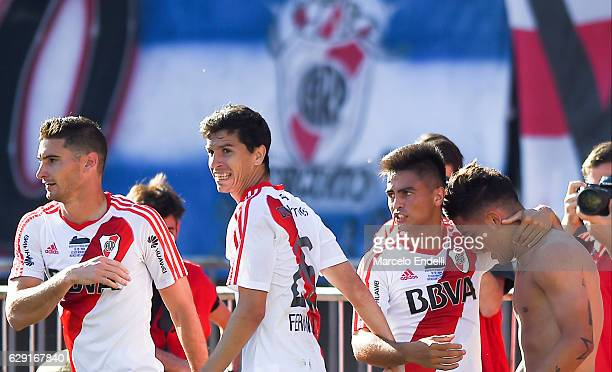 Sebastian Driussi of River Plate celebrates with teammates after scoring the first goal of his team during a match between River Plate and Boca...
