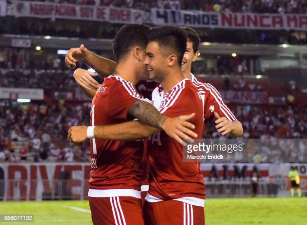 Sebastian Driussi of River Plate celebrates with teammates after scoring the first goal of his team during a match between River Plate and Belgrano...
