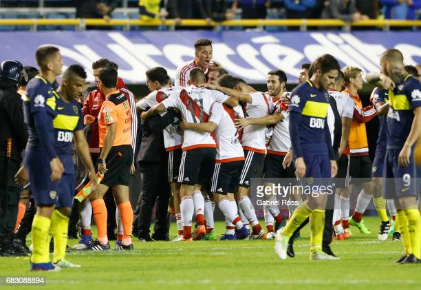 Sebastian Driussi of River Plate celebrates with teammates after wining the match between Boca Juniors and River Plate as part of Torneo Primera...