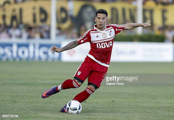 Sebastian Driussi of River Plate drives the ball during a match between Olimpo and River Plate as part of Torneo Primera Division 2016/17 at Roberto...