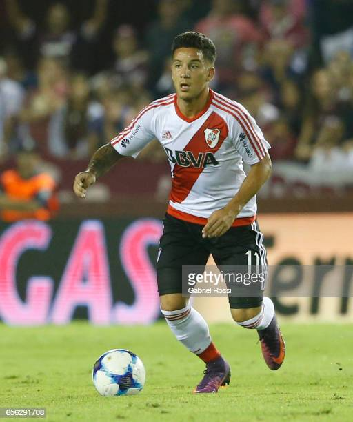 Sebastian Driussi of River Plate drives the ball during a match between Lanus and River Plate as part of Torneo Primera Division 2016/17 at Ciudad de...