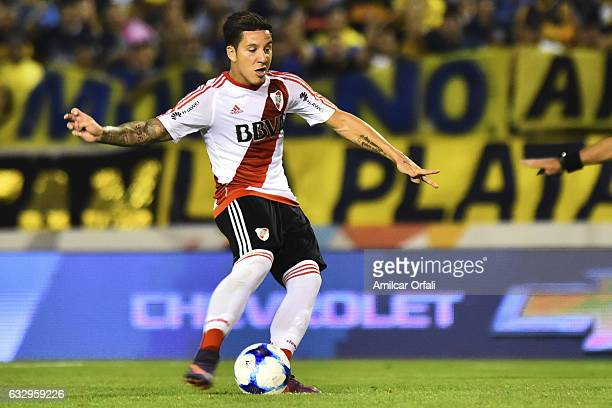 Sebastian Driussi of River Plate drives the ball during a match between Boca Juniors and River Plate as part of the Torneo de Verano 2017 at JosŽ...