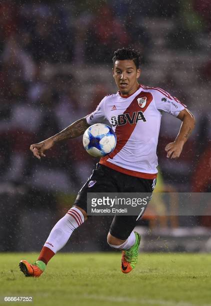 Sebastian Driussi of River Plate drives the ball during a match between River Plate and Quilmes as part of Torneo Primera Division 2016/17 at...