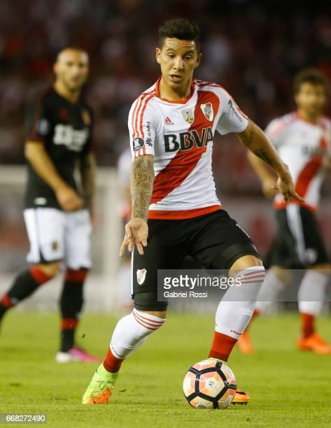 Sebastian Driussi of River Plate drives the ball during a match between River Plate and FBC Melgar as part of Copa Conmebol Libertadores Bridgestone...