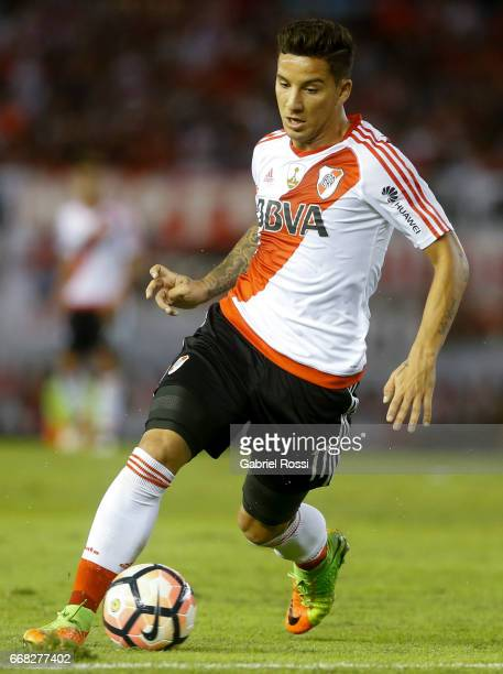 Sebastian Driussi of River Plate drives the ball during a match between River Plate and FBC Melgar as part of Copa Conmebol Libertadores Bridgestone...
