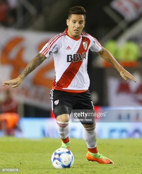 Sebastian Driussi of River Plate drives the ball during a match between River Plate and Sarmiento as part of Torneo Primera Division 2016/17 at...