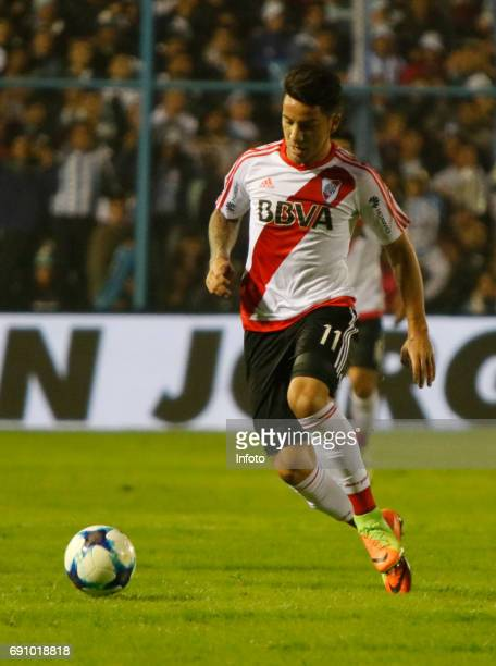 Sebastian Driussi of River Plate drives the ball during a match between Atletico Tucuman and River Plate as part of Torneo Primera Division 2016/17...