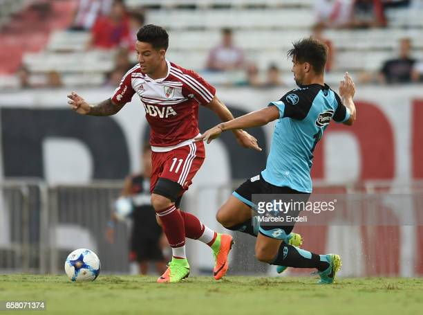 Sebastian Driussi of River Plate fights for ball with Lucas Melano of Belgrano during a match between River Plate and Belgrano as part of Torneo...