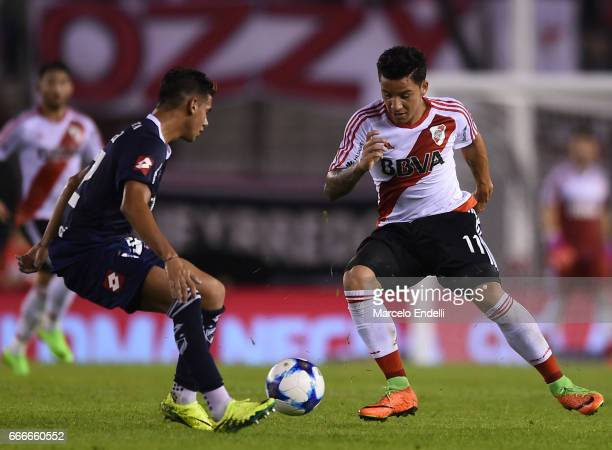 Sebastian Driussi of River Plate fights for ball with Matias Perez Acuna of Quilmes during a match between River Plate and Quilmes as part of Torneo...