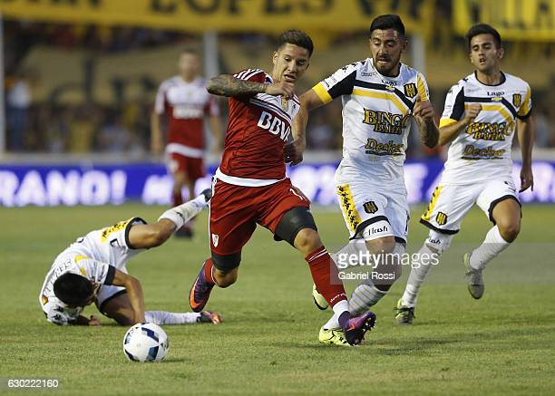 Sebastian Driussi of River Plate fights for the ball with Jonatan Blanco of Olimpo during a match between Olimpo and River Plate as part of Torneo...