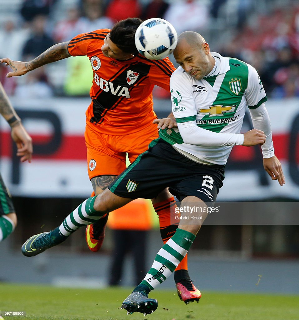 Sebastian Driussi of River Plate heads the ball to score the opening goal during a match between River Plate and Banfield as part of first round of...