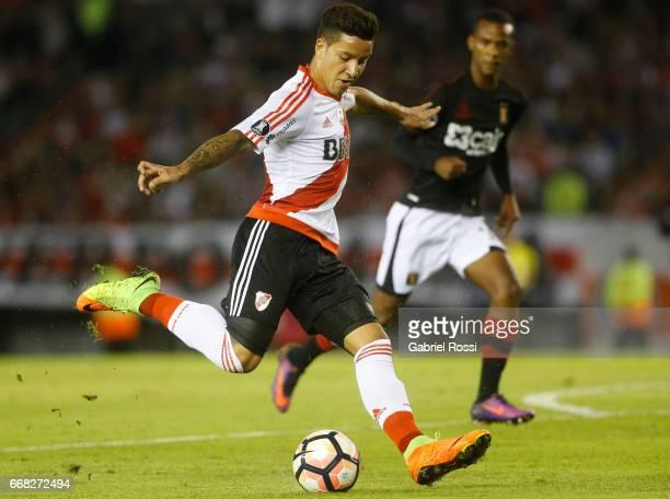 Sebastian Driussi of River Plate kicks the ball during a match between River Plate and FBC Melgar as part of Copa Conmebol Libertadores Bridgestone...