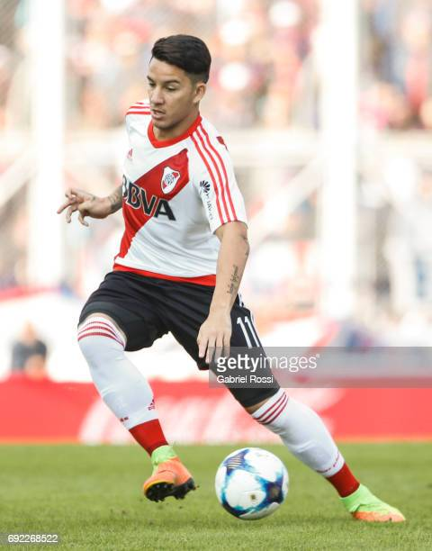Sebastian Driussi of River Plate kicks the ball during a match between San Lorenzo and River Plate as part of Torneo Primera Division 2016/17 at...