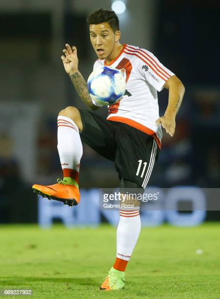 Sebastian Driussi of River Plate kicks the ball during a match between Tigre and River Plate as part of Torneo Primera Division 2016/17 at JosŽ...