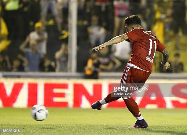 Sebastian Driussi of River Plate kicks the penalty during a match between Olimpo and River Plate as part of Torneo Primera Division 2016/17 at...