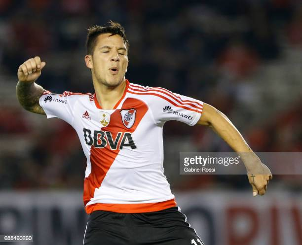 Sebastian Driussi of River Plate reacts after missing a goal during a group stage match between River Plate and Independiente Medellin as part of...