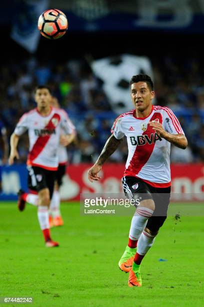 Sebastian Driussi of River Plate run towards the ball during a group stage match between Emelec and River Plate as part of Copa CONMEBOL Libertadores...