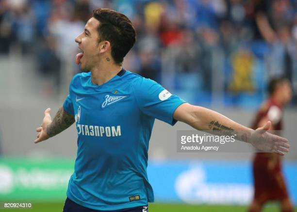 Sebastian Driussi of Zenit celebrate after scoring a goal during the Russian Football Premier League match between Zenit St Petersburg vs Rubin Kazan...