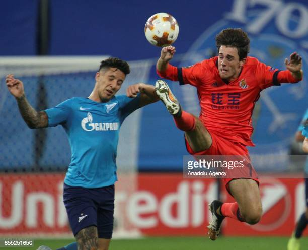 Sebastian Driussi of Zenit St Petersburg is in action against Álvaro Odriozola of Real Sociedad during the UEFA Europa League Group L football match...