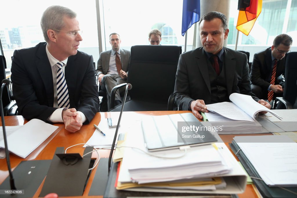 <a gi-track='captionPersonalityLinkClicked' href=/galleries/search?phrase=Sebastian+Edathy&family=editorial&specificpeople=9521423 ng-click='$event.stopPropagation()'>Sebastian Edathy</a> (R), Chairman of the Bundestag NSU Investigative Commisision, and Commission member Clemens Binninger (L) arrive to question Peter Joerg Nocken, former Deputy Director of the Thuringia office of the Office for the Protection of the Constitution (Verfassungschutz), the German law enforcement agency charged with fighting domestic terrorism, at Commission hearings on February 21, 2013 in Berlin, Germany. The Commission is investigating the NSU murder series, in which a trio of neo-Nazis calling themselves the National Socialist Underground murdered a total of nine immigrants and one policewoman between 2000 and 2007, as well as detonating two bombs in immigrant-heavy districts in Cologne. The case has developed into the biggest German law enforcement embarassement and scandal in modern German history because police failed to pursue a right-wing motive o the crimes.