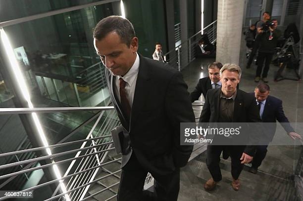 Sebastian Edathy German Social Democrat and former member of the Bundestag leaves the room after testifying before a Bundestag commission over...
