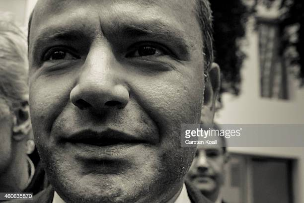 Sebastian Edathy German Social Democrat and former member of the Bundestag arrives to speak to the media over allegations he harbored child...