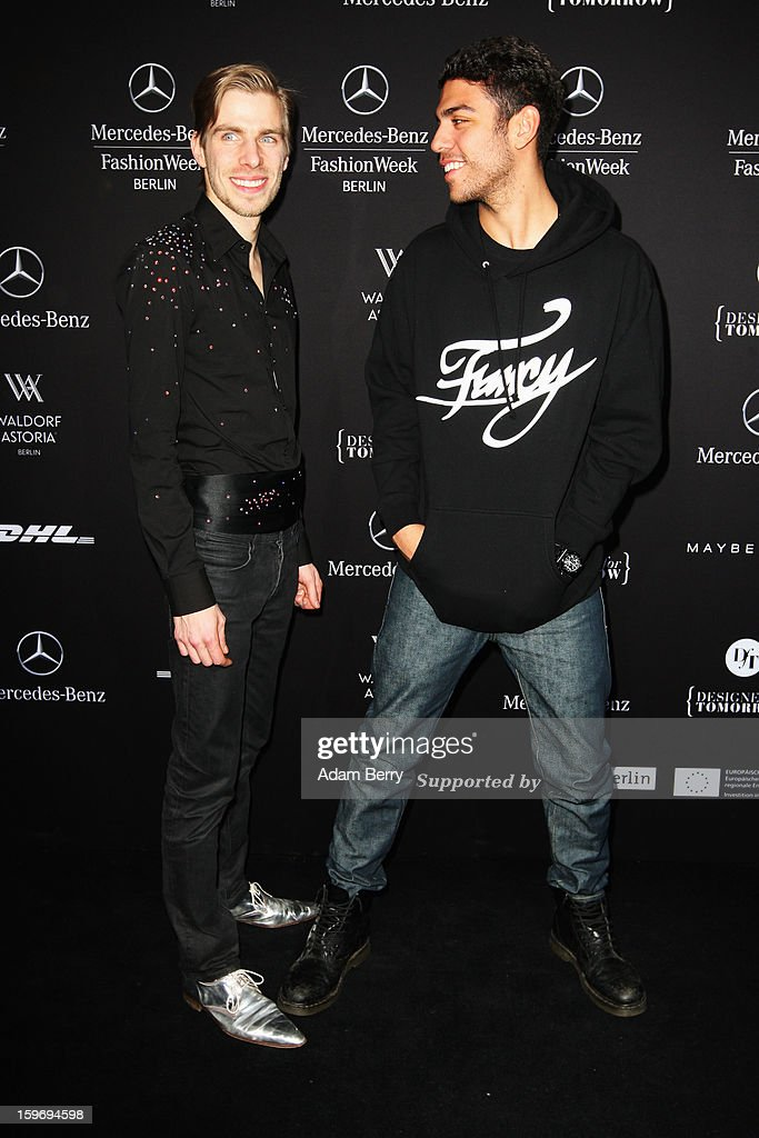 Sebastian Ellrich and Noah Becker attend Sebastian Ellrich Autumn/Winter 2013/14 fashion show during Mercedes-Benz Fashion Week Berlin at Brandenburg Gate on January 18, 2013 in Berlin, Germany.