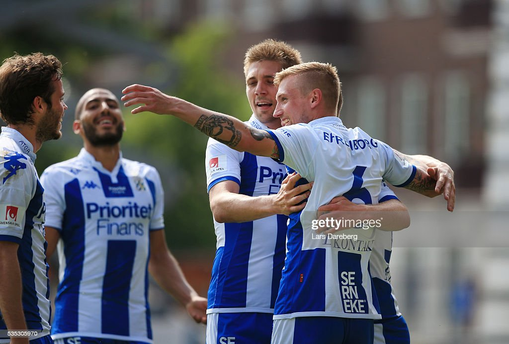 Sebastian Eriksson of IFK Goteborg and his teammates celebrate 2-0 goal during the Allsvenskan match between Helsingborgs IF and IFK Goteborg at Olympia on May 29, 2016 in Helsingborg, Sweden.