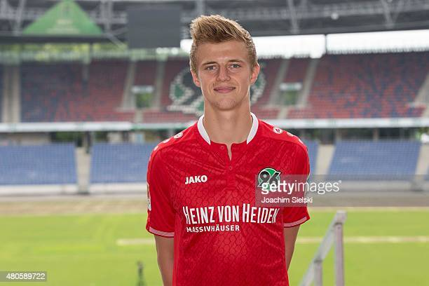 Sebastian Ernst poses during a team presentation for Hannover 96 at HDIArena on July 13 2015 in Hanover Germany