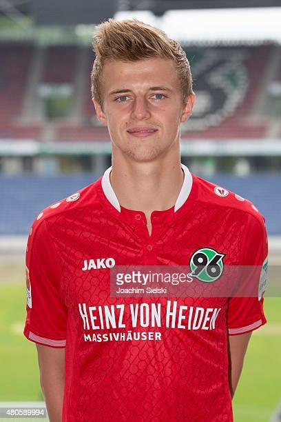 Sebastian Ernst poses during the team presentation of Hannover 96 at HDIArena on July 13 2015 in Hanover Germany