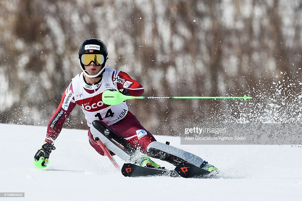 Sebastian Foss Solevaag of Norway competes during the Audi FIS Alpine Ski World Cup Men's Slalom on February 14, 2016 in Naeba, Japan.