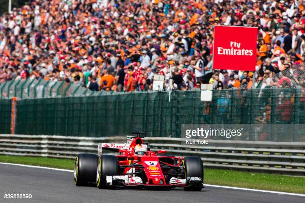 Sebastian from Germany of scuderia Ferrari during the Formula One Belgian Grand Prix at Circuit de SpaFrancorchamps on August 27 2017 in Spa Belgium